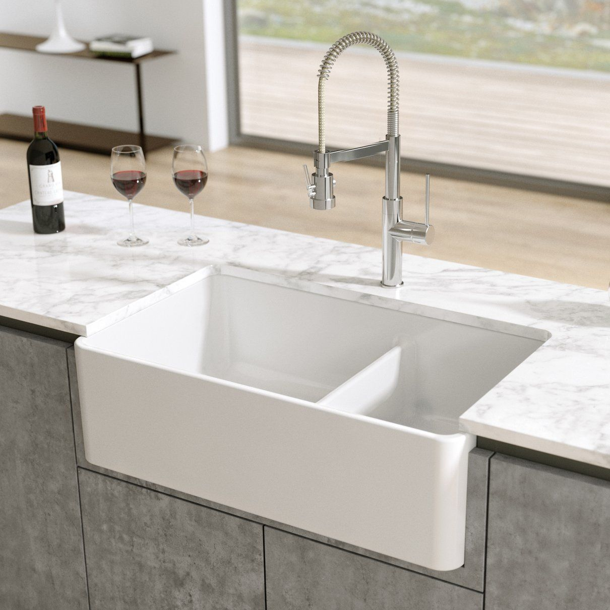 Latoscana 33 Fireclay Double Bowl Reversible Farmhouse Apron Sink White Ltd3319w Farmhouse Apron Sink Fireclay Farmhouse Sink Apron Sink