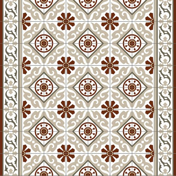 PVC Vinyl Mat Tiles Pattern Decorative Linoleum Rug Color Bordeaux - Vinyl matte fliesen