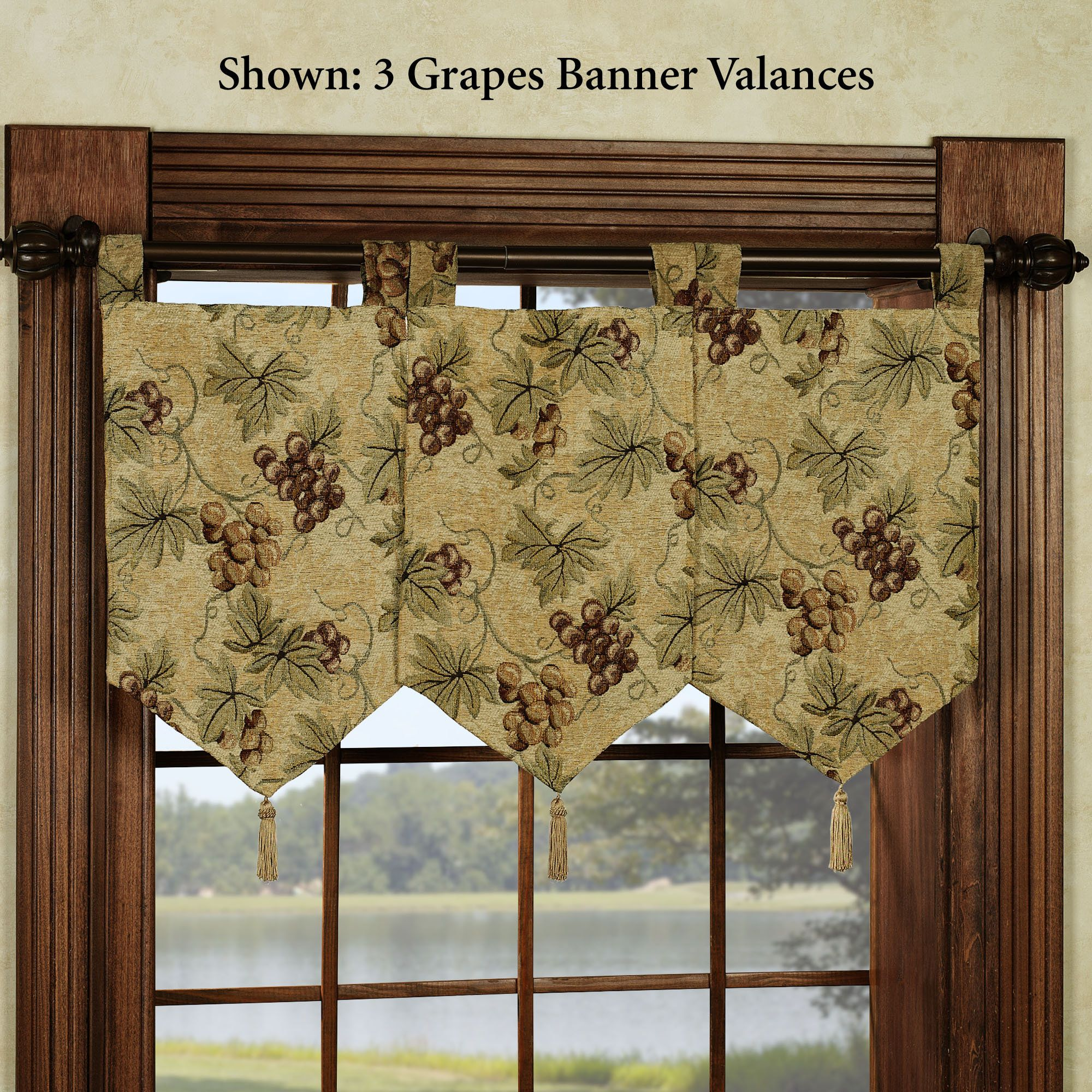 Stylish Kitchen Window Valances Farm Rooster Window