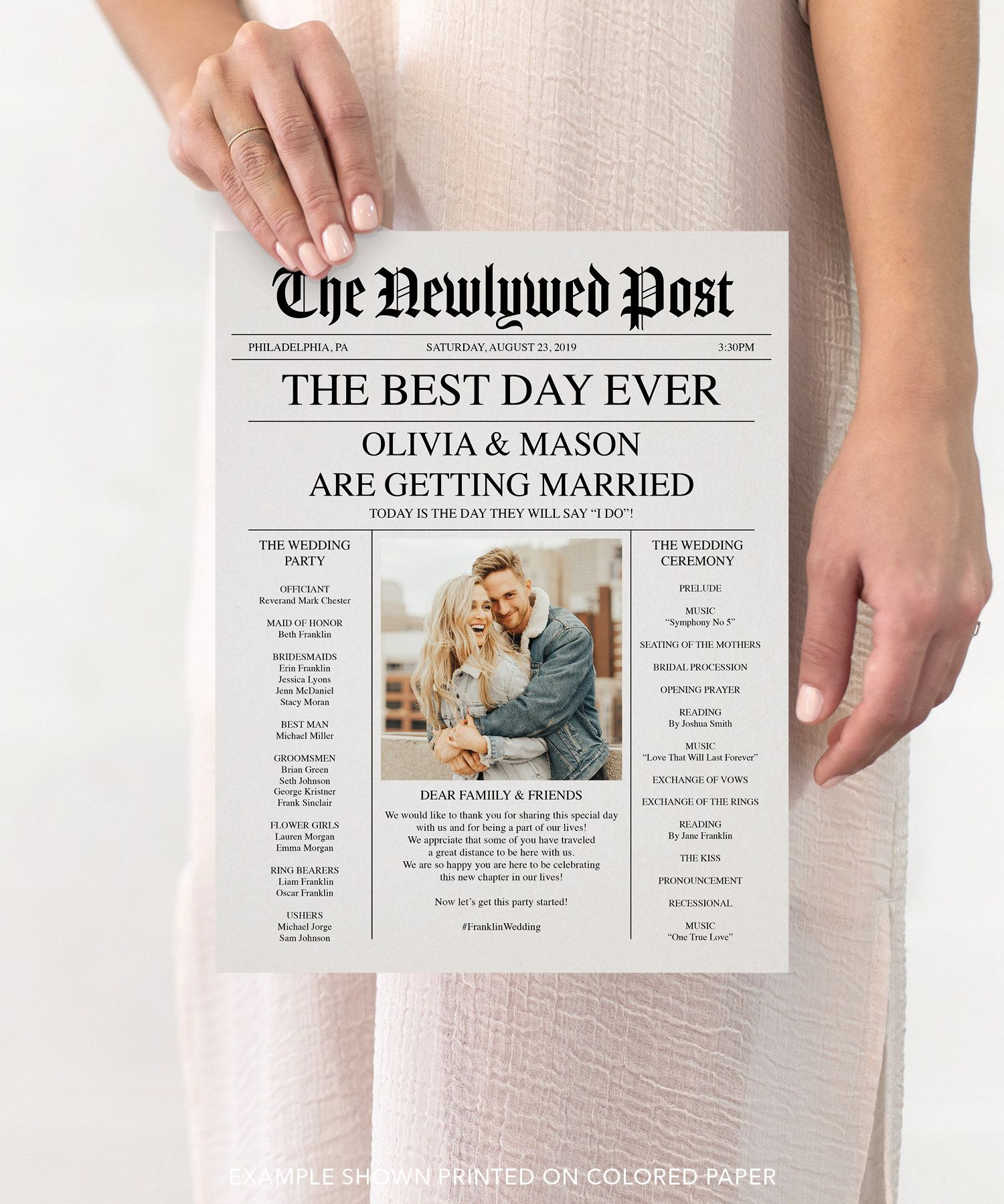 "What a fun and unique way for your guests to ""read all about it!"" Just download and edit this newspaper program yourself! • • • • • RECOMMENDED PAPER • • • • •  Parchment Specialty Paper: https://amzn.to/2Wr7hf4 • • • • • DOWNLOAD • • • • •  You will need Adobe Reader to edit these files.  Don't worry - it's free! https://get.adobe.com/reader/ • • • • • HOW IT WORKS • • • • •  1. Open the PDF in Adobe Reader 2. Fill out the highlighted areas with your information 3. Save and print on white paper or colored paper to give it a vintage look 4. Take in all the compliments as your guests adore the lovely details of your wedding! *Please see example in listing for editable areas.  • • • • • HOW TO EDIT • • • • • To edit the font size, style and color: Open the text edit panel by pressing Command-E (Mac) or Ctrl-E (PC) • • • • • FILE INFORMATION• • • • •  - Measures 8.5x11 and will print onto a standard sheet of paper - A4 (UK/AUS) Size included! - This program is double sided - You will receive 1 high resolution PDF that includes 2 pages (front and back) • • • • • NEED HELP • • • • •  We can lay this out for you! Just purchase this program and add on our $15 change listing - and please leave all the info in the ""note to seller"" section at check out: https://www.etsy.com/listing/218692353/custom-design?ref=shop_home_active_58 You can email the photo to: Roberta@CreativeUnionDesign.com • • • • • QUESTIONS? • • • • •  Feel free to send us a message, we usually respond within a few hours! • • • • • MORE IDEAS & INSPIRATION • • • • •  Blog: www.creativeuniondesign.com/ Instagram: @creativeuniondesign Pinterest: pinterest.com/Creative_Union/ Facebook: search: Creative Union Design YouTube: YouTube.com/CreativeUnionDesign To edit PDFs: Download to a computer and use Adobe Reader DC. Not recommended to be edited on a mobile device. All designs and layouts from Creative Union Design© are not to be duplicated or used for commercial use. Recommend items can contain affiliate link. Please watch our ""How to edit a PDF"" video: https://youtu.be/5qyyPEH7TGQ"