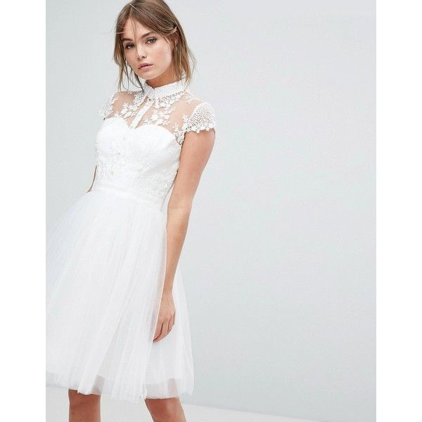 Chi Chi London Mini Tulle Skater Dress With Lace Collar (€88 ...