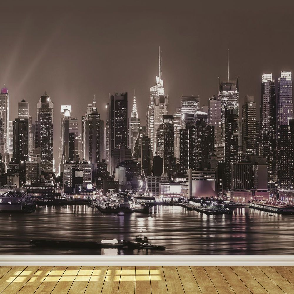 New York City Skyline at Night 8 Photo Wallpaper Wall
