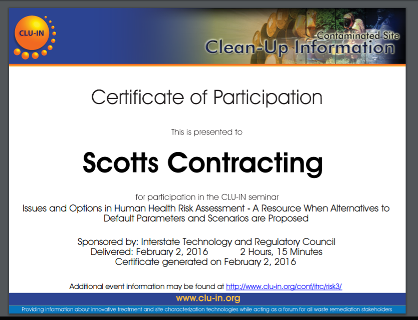 Scotts Contracting CluIn Health Risk Training Cert  Bridgeton