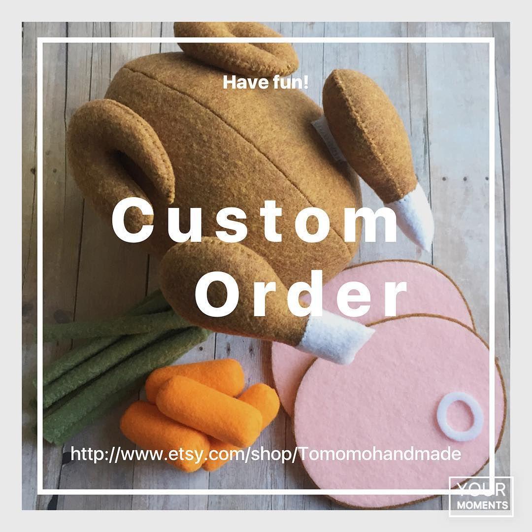 いいね!43件、コメント3件 ― @etsy_tomomohandmadeのInstagramアカウント: 「Felt food. Special custom order( Turkey, slice ham, green bean, carrot etc... ) #fun #felt #feltham…」