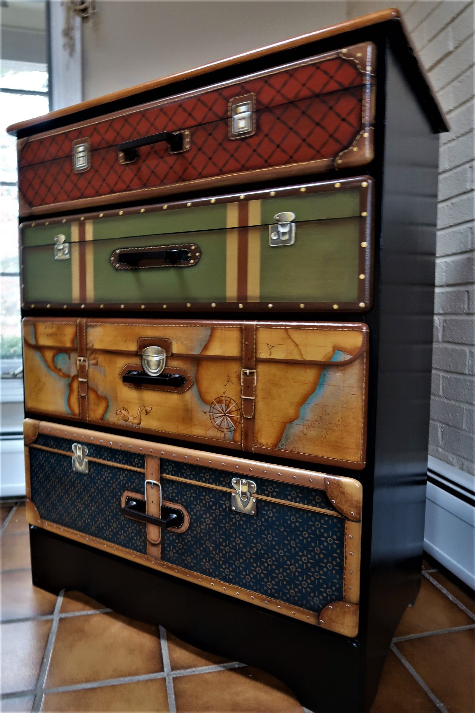 Classic Trompe L Oeil Suitcase Dresser Makes A Wonderful
