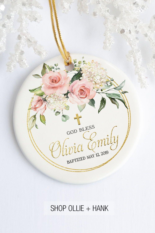 Gift For Goddaughter Floral Blessing Baptism Ornament Baby Baptism Gifts Baptism Gifts For Girls Baby Girl Christening Gifts