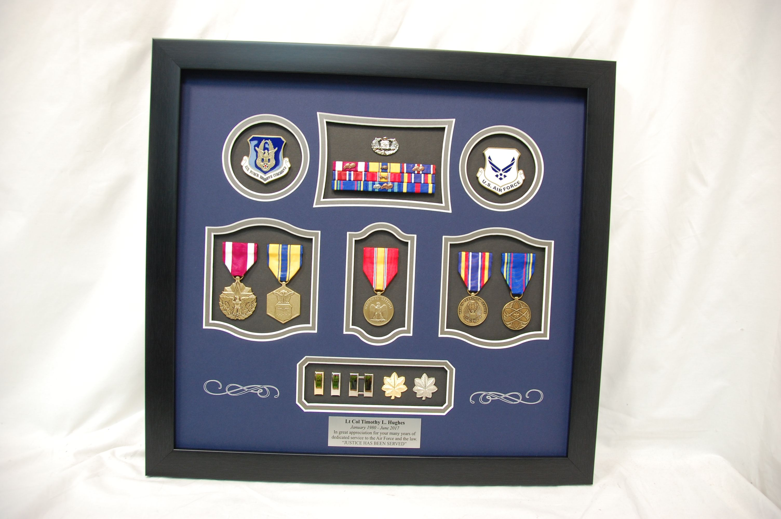 US Air Force Frame Display with challenge coins, medals