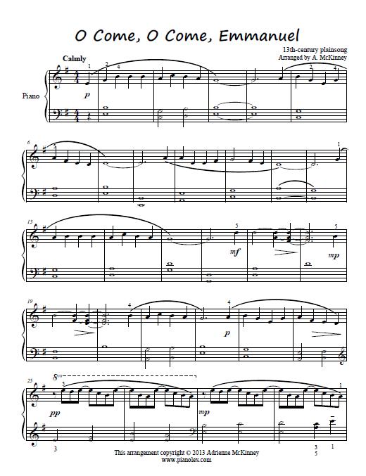 Free Intermediate Piano Arrangement Of O Come O Come Emmanuel