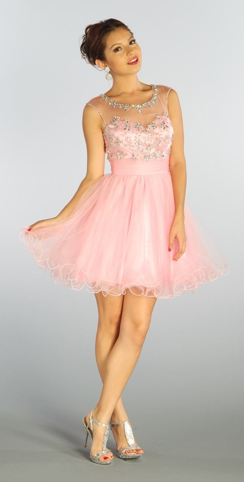 Short mesh light pink homecoming dress lace appliques illusion neck