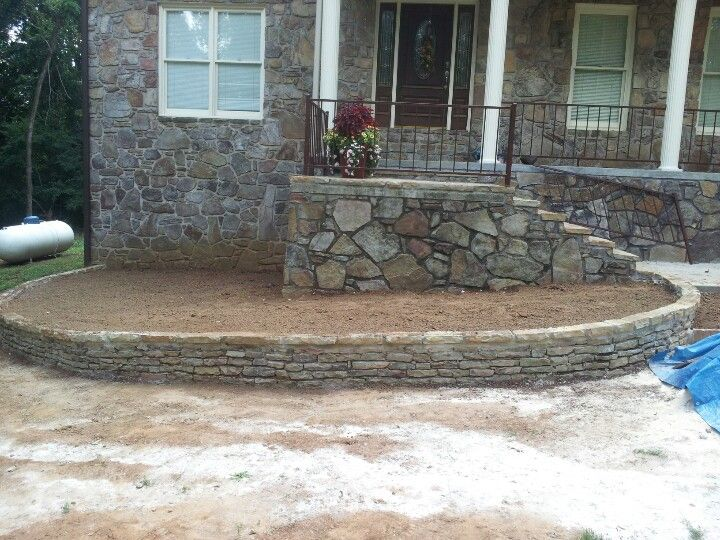 New flower bed border mountain stone with flagstone cap for Flower bed border stone