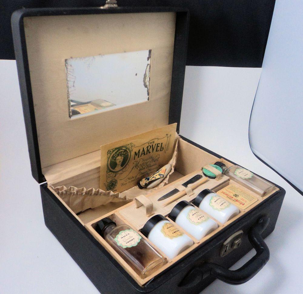 Vintage Macys Cosmetic Kit Original Case Hazel Atlas Milk