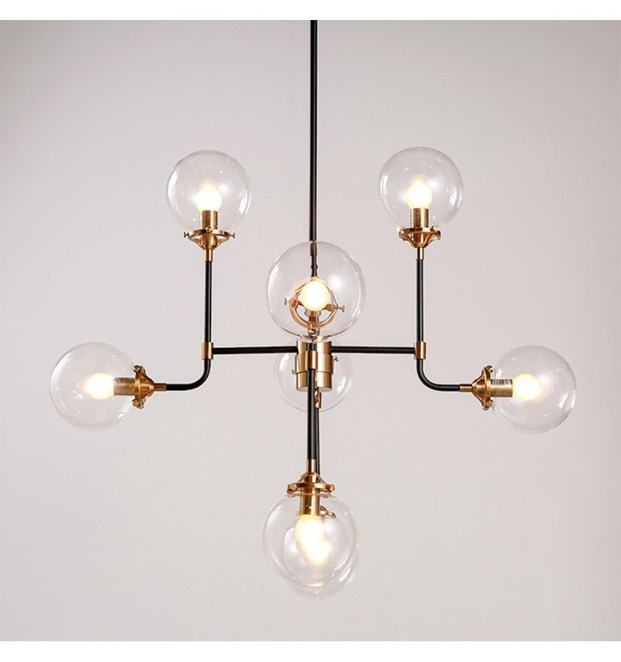 lustre industriel dor 8 bras verre transparent zenith pinterest pendant lighting. Black Bedroom Furniture Sets. Home Design Ideas