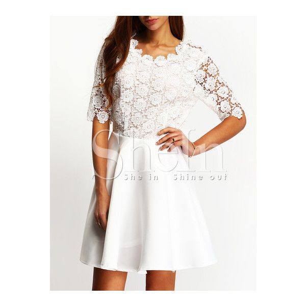 SheIn(sheinside) White Eyelet Cut Out Back Skater Dress (€19) ❤ liked on Polyvore featuring dresses, white dress, short sleeve skater dress, short sleeve dress, going out dresses and short white dresses