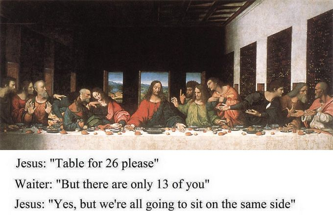 Last Supper Table Requirements Funny Jesus Da Vinci Painting