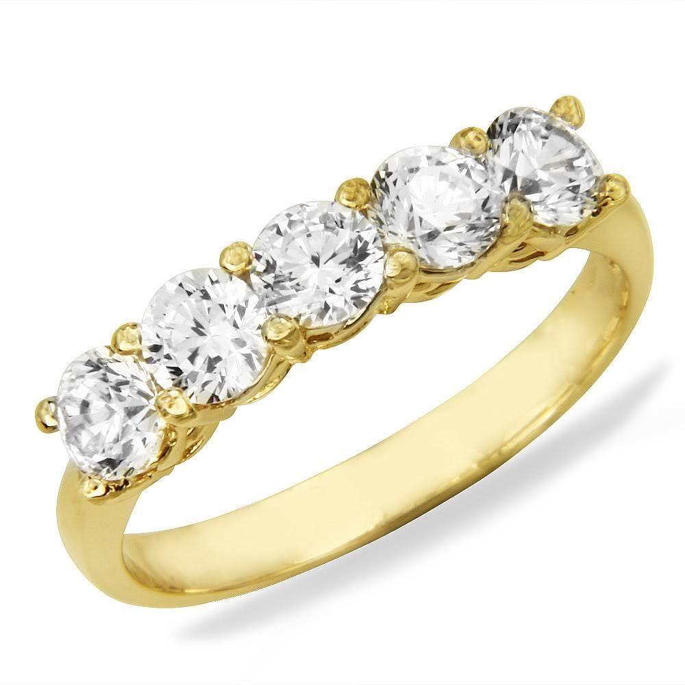 14k White Gold 5 Stones Cz Wedding Anniversary Band 14k Yellow Gold 5 Stones Cz Wed Wedding Anniversary Rings Anniversary Rings Band Gold Wedding Anniversary