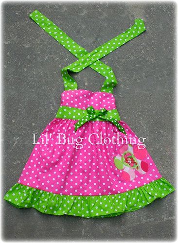 63004e90440 Custom Boutique Clothing Strawberry Shortcake 1 Piece Jumper Dress Pink Lime