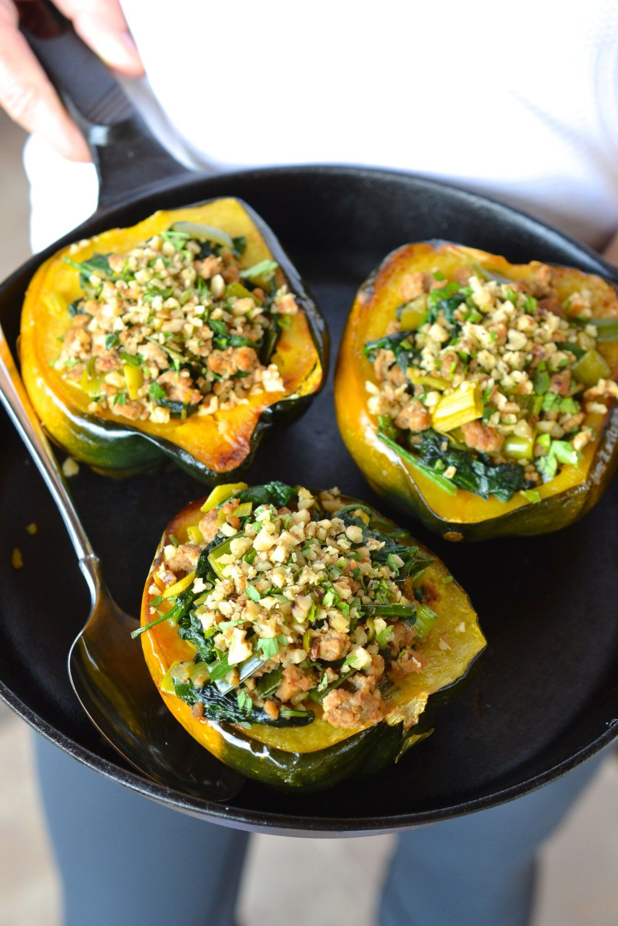 Acorn Squash Stuffed With Spinach Pork Leeks Recipe Acorn