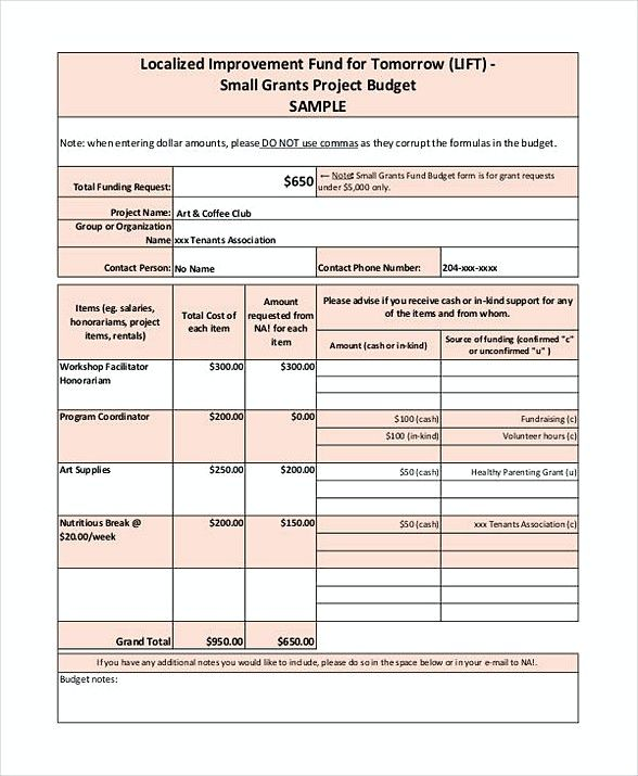 what are the types of budgets used in grant funding