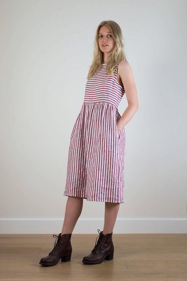 036e78e4a41 Red stripe linen dress from Pyne   Smith Clothiers.