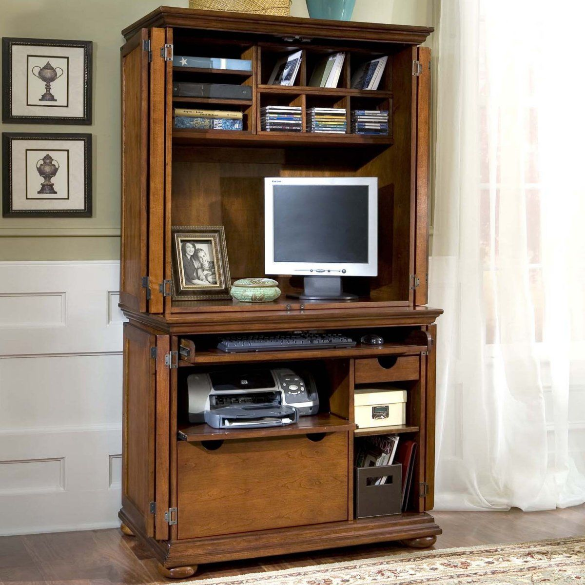 Home Styles Homestead Compact Office Cabinet & Hutch - Computer ...