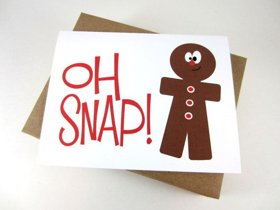 Gingerbread Man Holiday Card Funny Greeting Card by craftedbylindy, $4.00