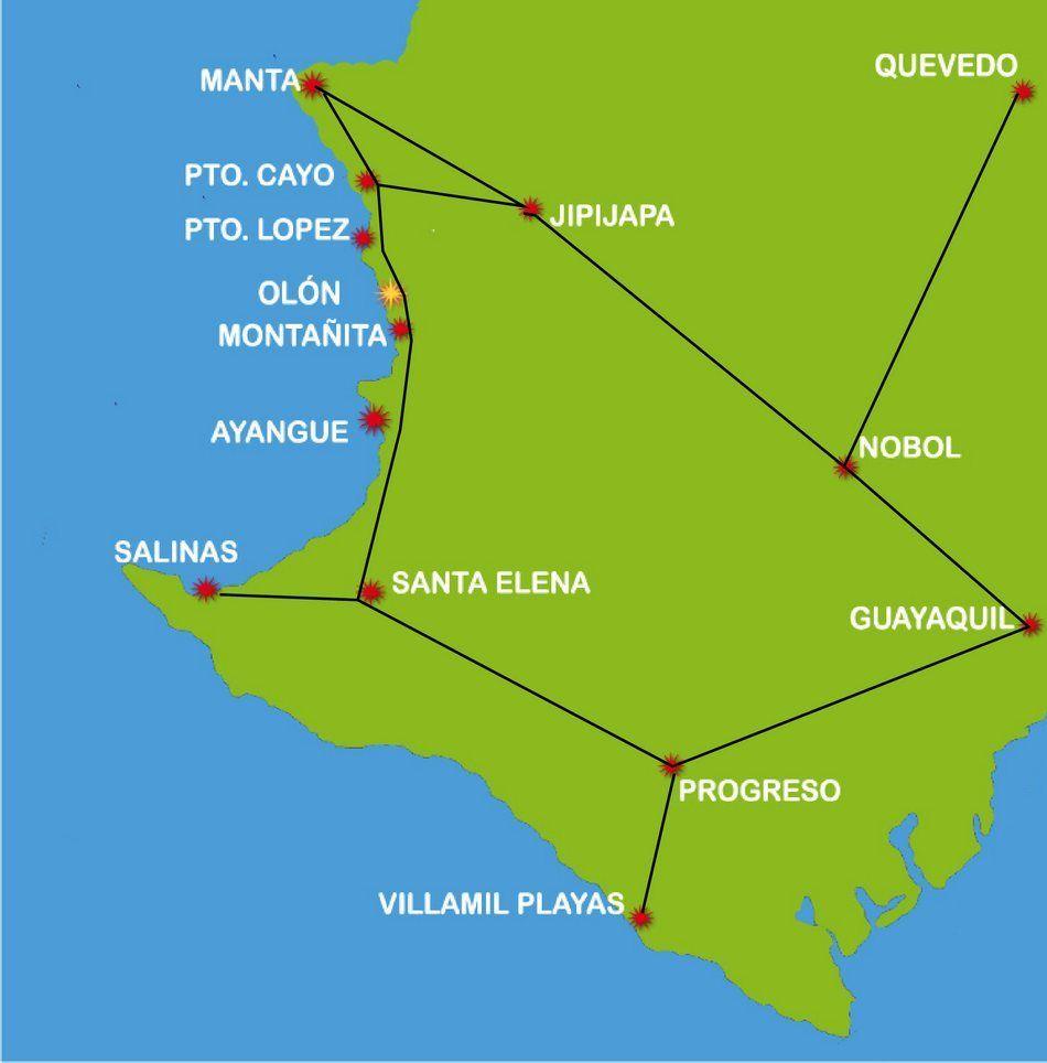 Mapa De Olon Ruta Del Sol Ecuador Quito Map Ecuador