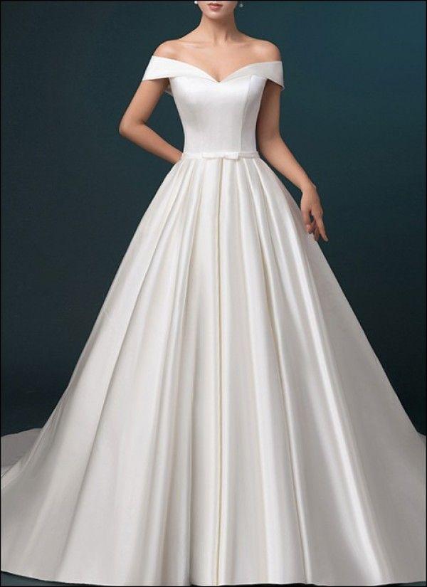 Satin Wedding Dress A Line With Pockets By Lafanta Abend