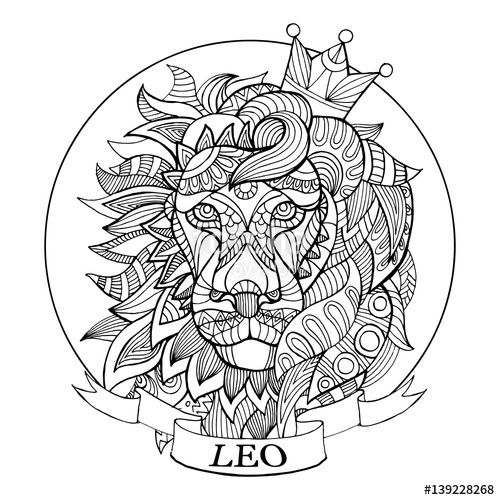 Leo Zodiac Sign Coloring Page For Adults Fotolia 139228268 Coloring Books Coloring Pages Lion Coloring Pages