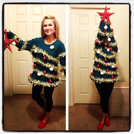 be a christmas tree ugly sweater with this great holiday diy - Homemade Ugly Christmas Sweater