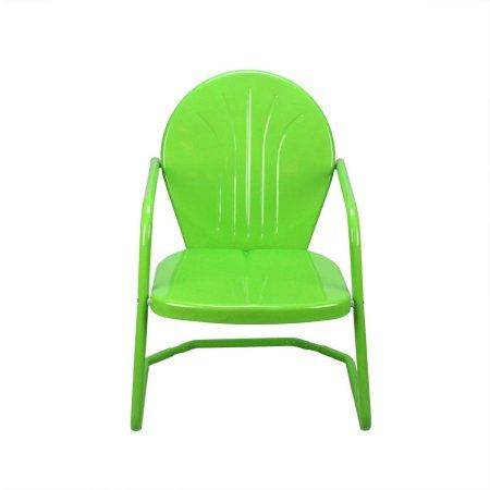 """34"""" Lime Green Retro Metal Outdoor Tulip Chair"""