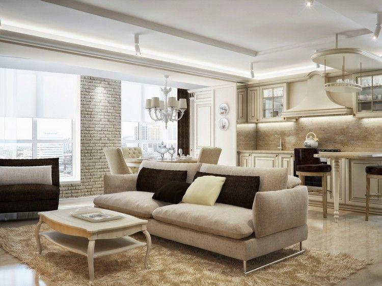 déco cuisine ouverte sur salon classique, tapis design, table basse ...