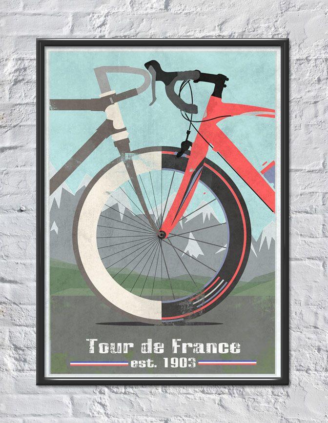 Tour De France A3 Print Bike Poster Bicycle Art Bike Art