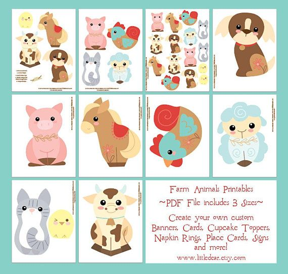 Farm Animals Banner Printable Art Pdf Digital Download For Banner
