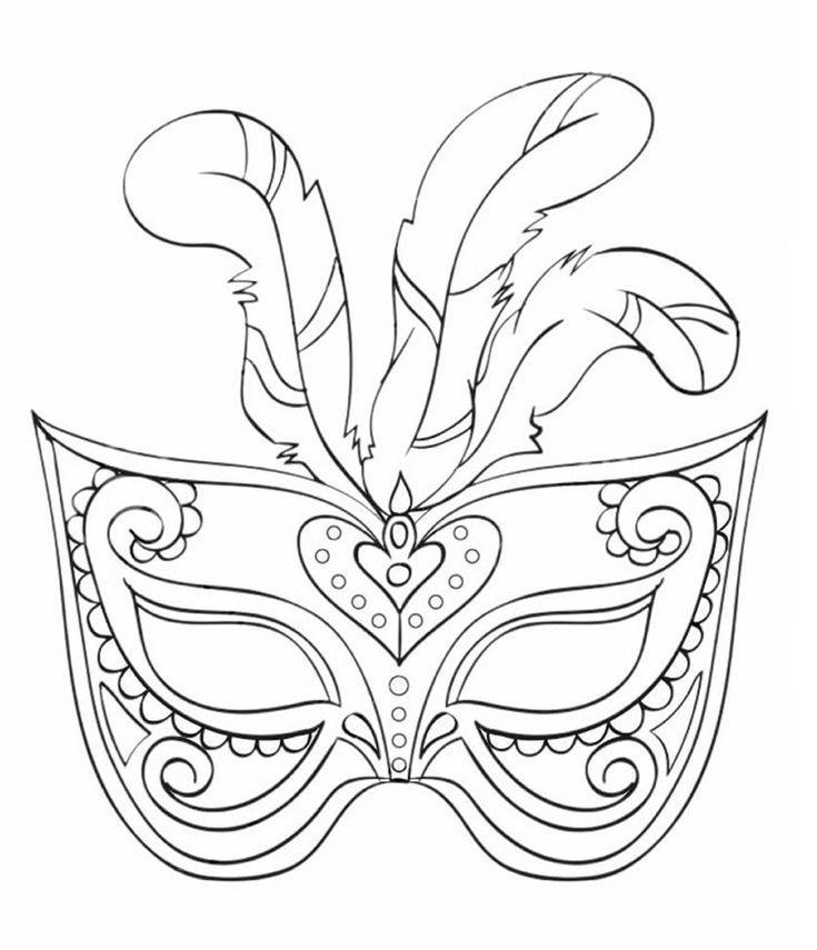 Fasching Maske Ausmalbilder Feder #children #print #