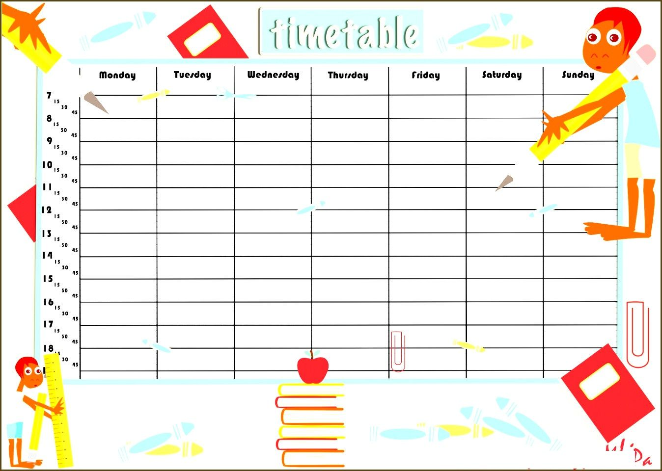 Free Blank Class Roster Printable Blank Schedule Form Daily