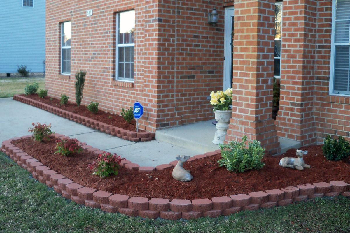 landscaping with bricks for flower beds VA Beach