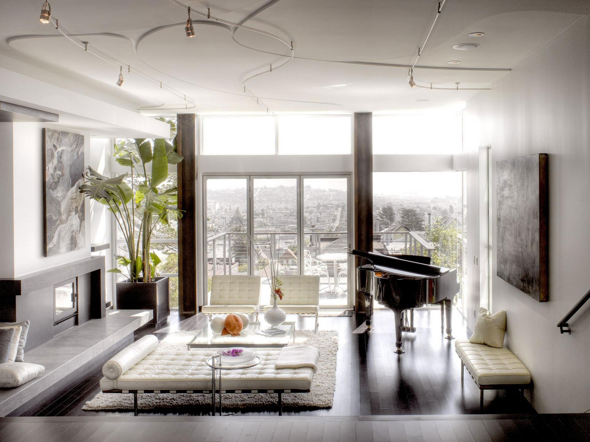 Living room with baby grand piano and a nice view of San Francisco ...