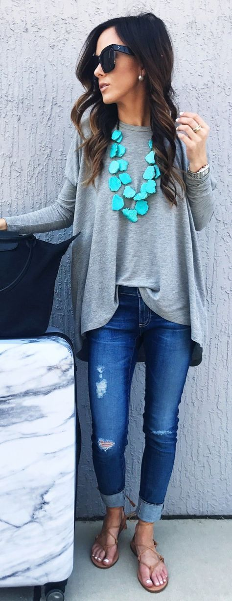 #spring #outfits Grey Oversized Top & Ripped Denim & Nude Sandals