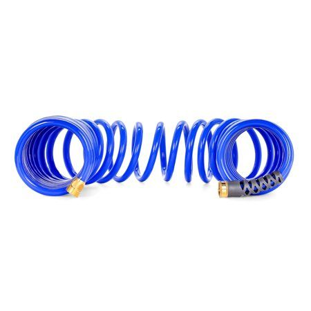 Camco 40? Coiled Water Hose ? Rust Resistant Brass Hose Fittings, Hose Design Prevents Kinking and Tangling, Great for Car Washing and Gardening (41985) - Walmart.com