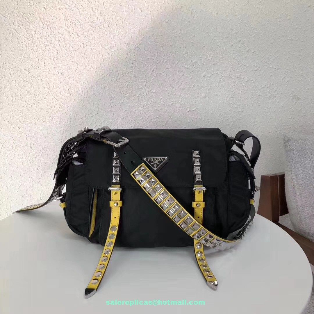 3a683613c8a8 fake Prada Black Nylon shoulder bag 1BD118 Yellow-Leather | Luxury ...