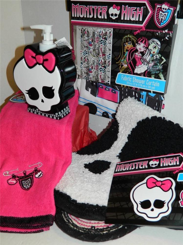 Monster High Bathroom Set Towel Shower Curtain Soap Dispenser Bath Mat Rug Skull