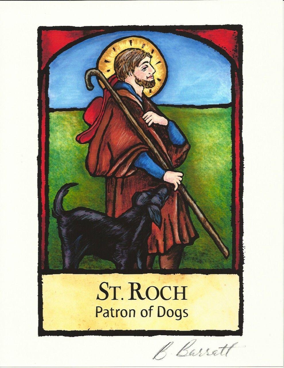 Patron of Dogs Art Print Saint Roch Illustration by