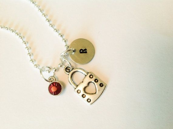 Heart Lock necklace lock valentine necklace lock by Stamptations