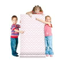Pink chevron kids wallpaper, peel and stick wall mural, girls room removable wallpaper, nursery wallpaper, temporary wallpaper
