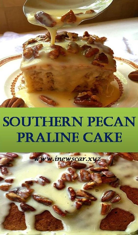 Southern Pecan Praline Cake Recipe #pralinecake