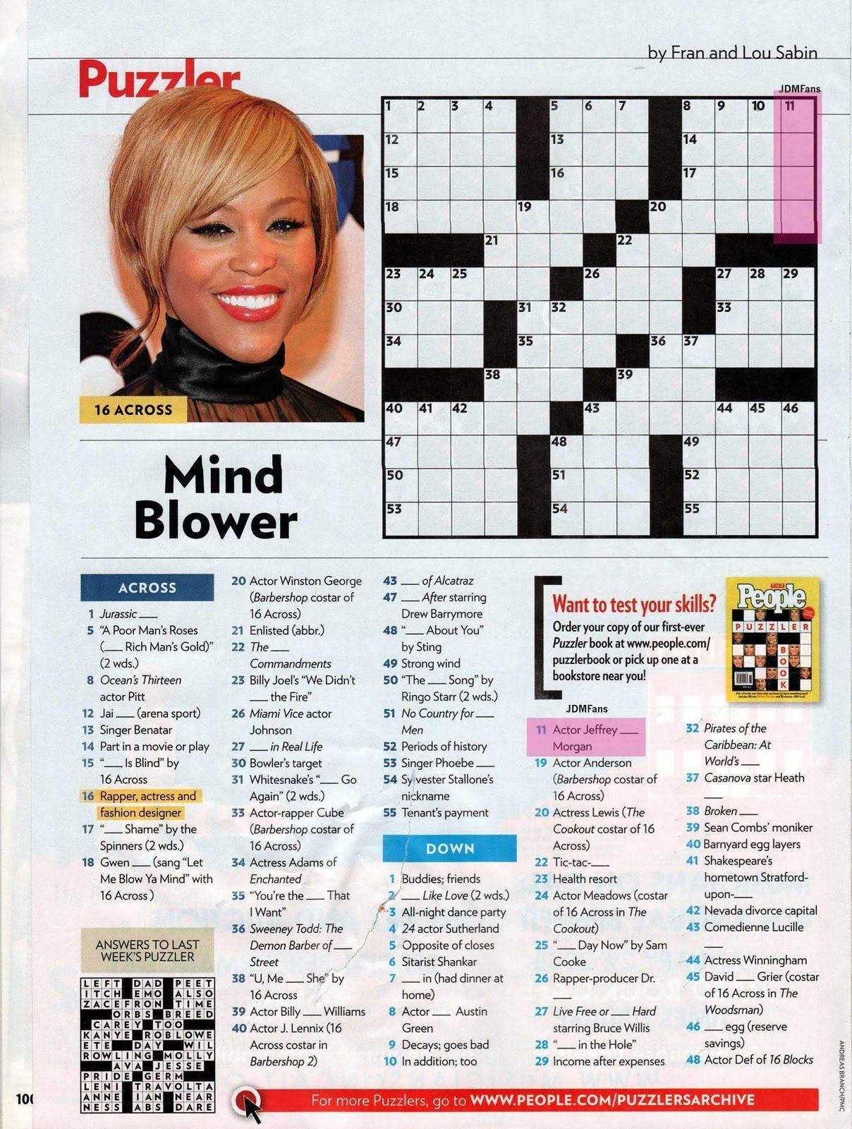 Printable People Magazine Crossword Puzzles In 2020 Crossword Puzzles Printable Crossword Puzzles People Magazine