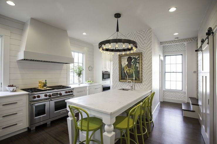 white contemporary kitchen + shiplap paneled backsplash