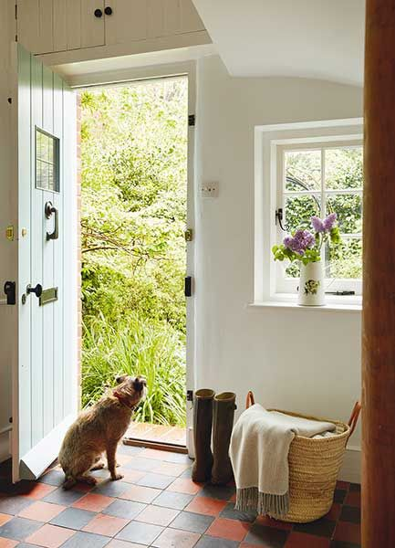 Farmworker 39 S Country Cottage Open Front Door With Dog Cottages Houses Pinterest Beautiful