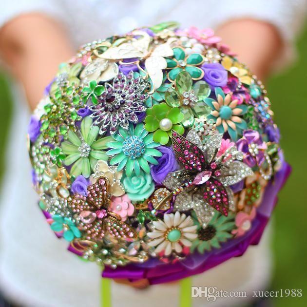 Purple Wedding Ideas With Pretty Details: Fairy Wedding Alternative To Flowers Ideas (Brooch Bouquet