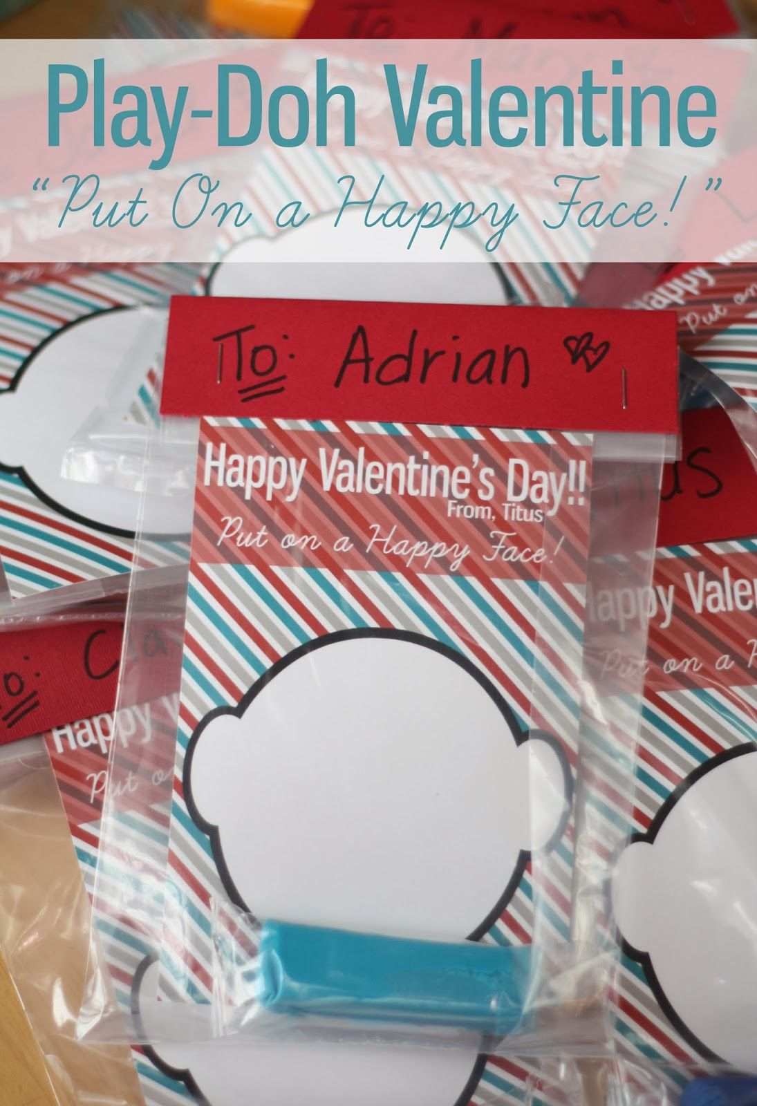 Happy Face Play Doh Valentine Free Printable With